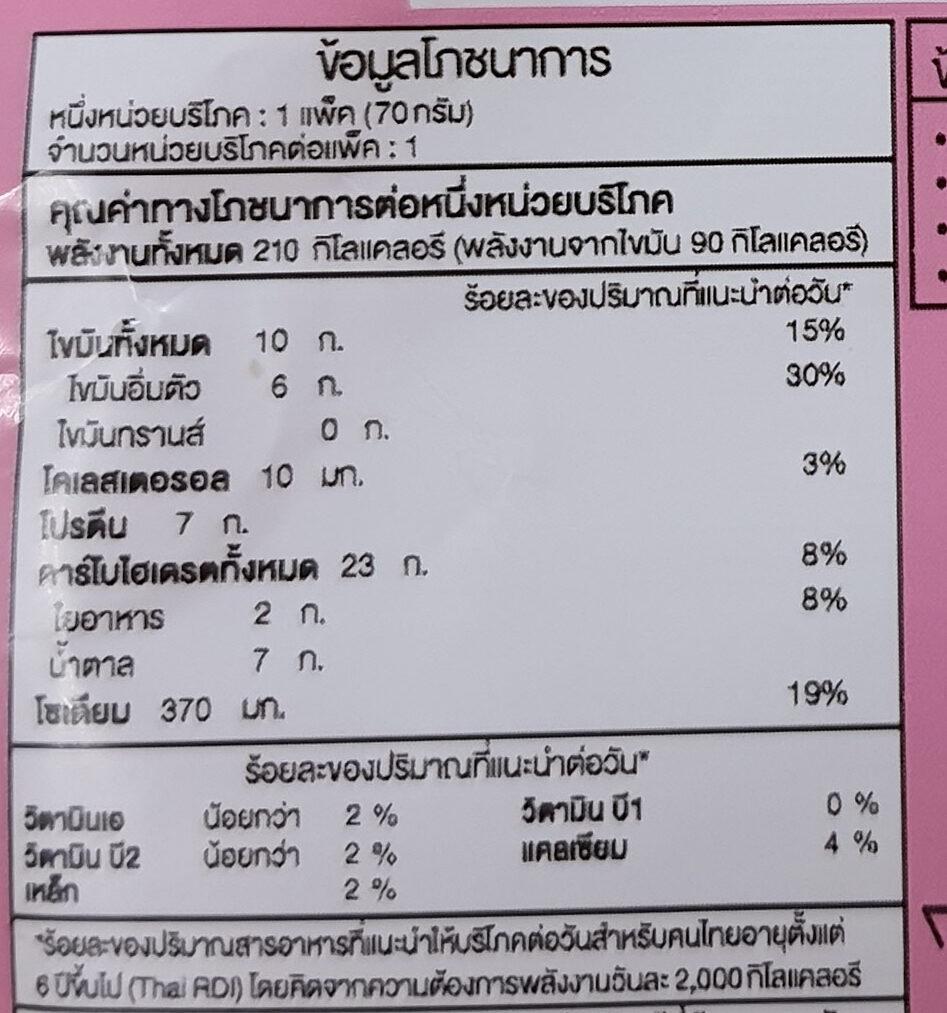 แซนด์วิช โบโลน่ามายองเนส - Voedingswaarden - th