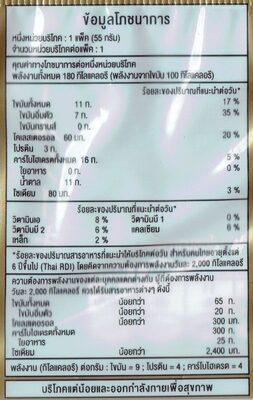 โรลวานิลาครีมสด - Voedingswaarden - th
