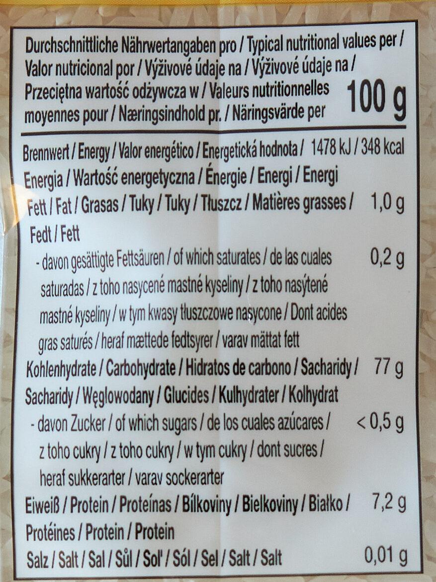 Jasminreis - Valori nutrizionali - de