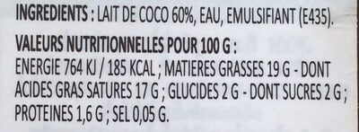 Kokosmilch / Lait de coco - Ingredients