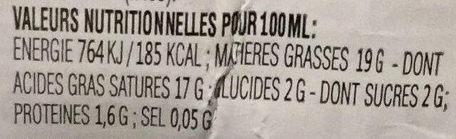Lait de noix de coco - Nutrition facts - fr
