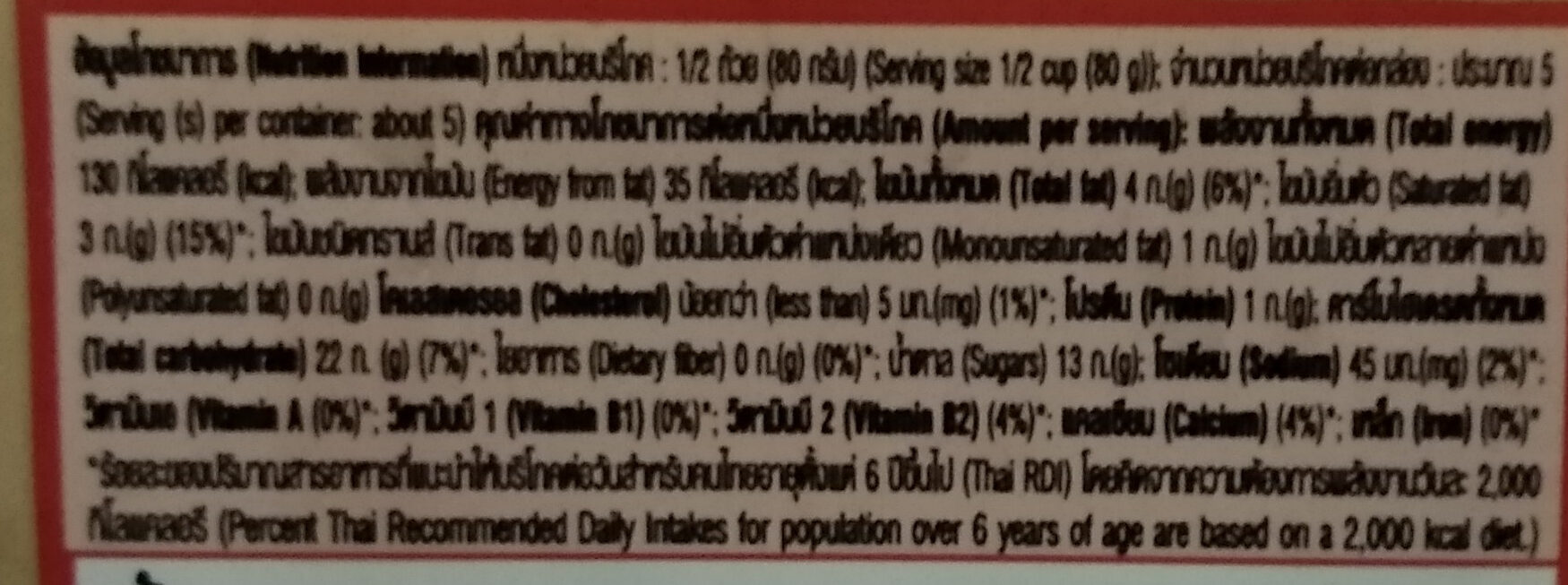 ไอศครีมรวมมิตร - Nutrition facts