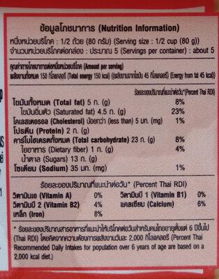ไอศครีมรสช็อกโกแลตชิบและรสช็อกโกแลต - Nutrition facts - th
