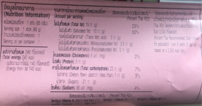 Macadamia Salted Caramel - Nutrition facts