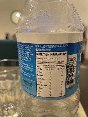 Distilled vinagre 5% acidity - Nährwertangaben - en