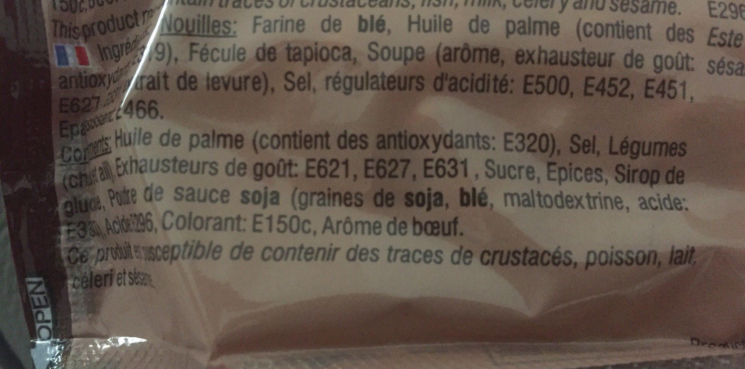 Noodles instantané goût boeuf - Inhaltsstoffe