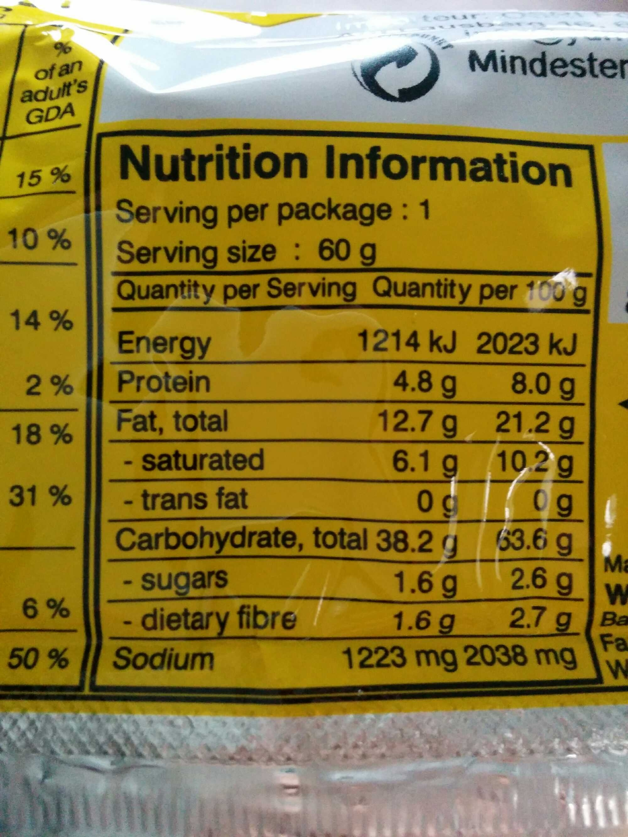 Asian Cuisine Chicken Flavour - Nutrition facts
