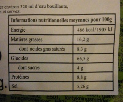 Soupe De Nouilles Yum Yum Wasabi - Informations nutritionnelles