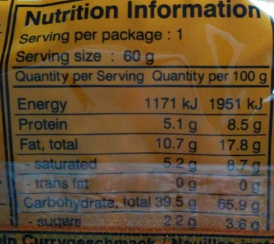 Oriental Style instant noodles Curry flavour - Nutrition facts