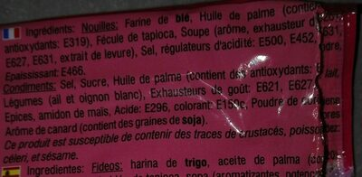 Soupe Nouille Yum Yum Canard Carton 30X60G Thailande - Ingrédients