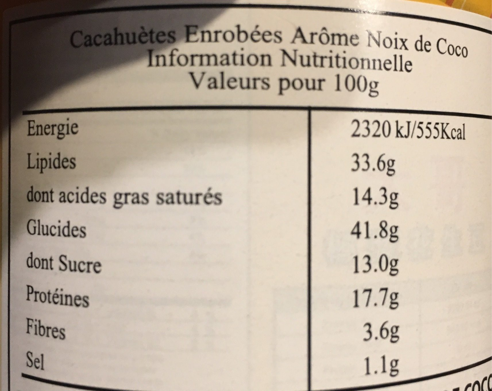 Boite Cacahuètes Coco - Voedigswaarden