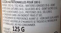 Cacahuète Goût Café 125G - Informations nutritionnelles