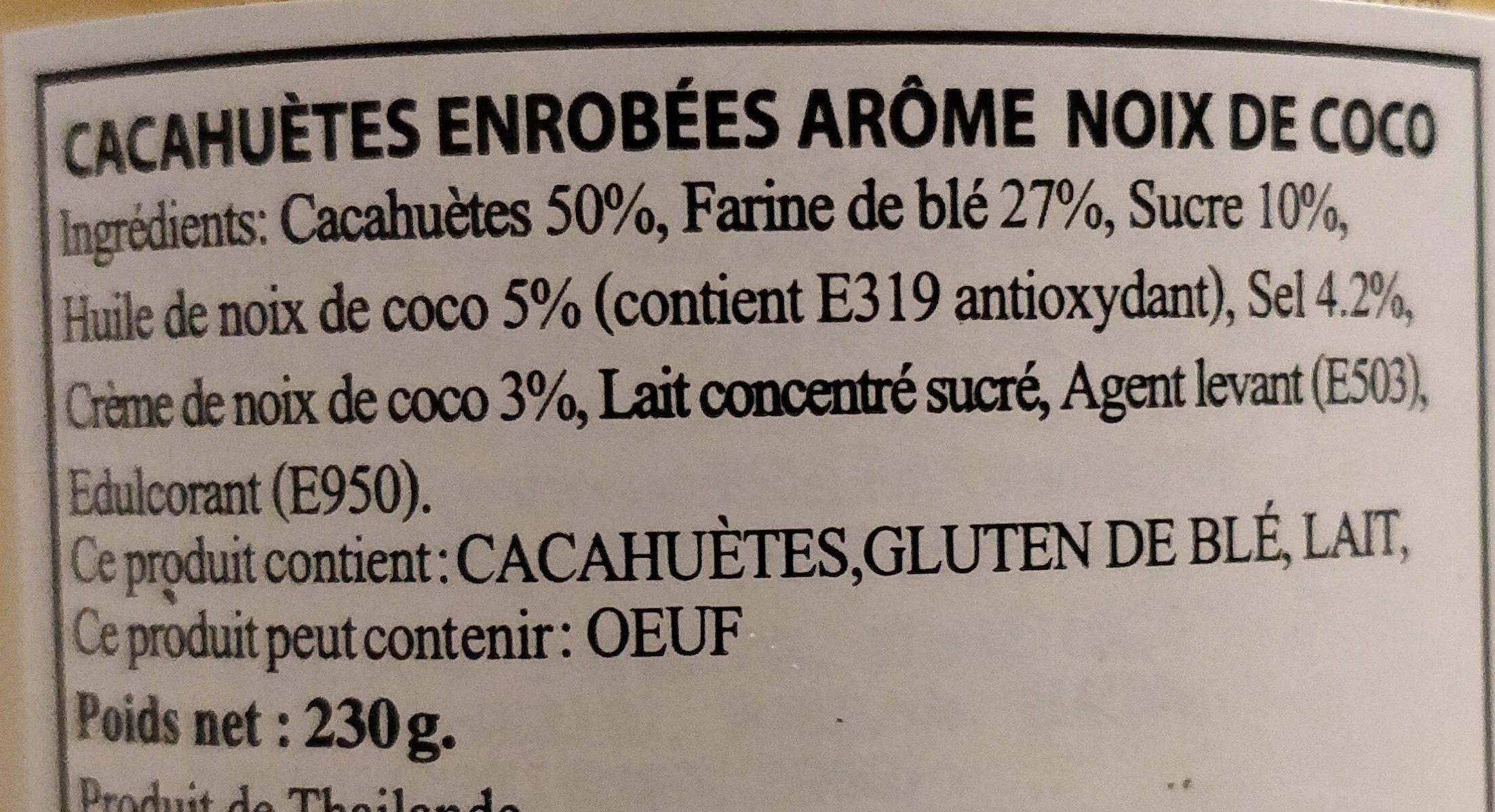 Cacahuètes enrobées arôme noix de coco - Ingrédients