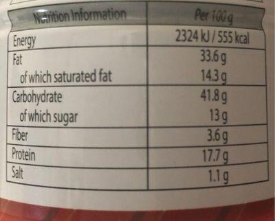 Cacahuètes enrobées arôme noix de coco - Informations nutritionnelles