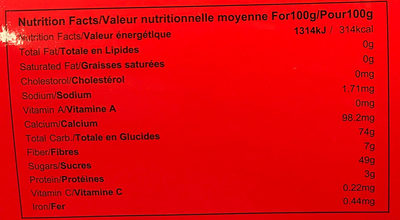 Sweet tamarind - Nutrition facts
