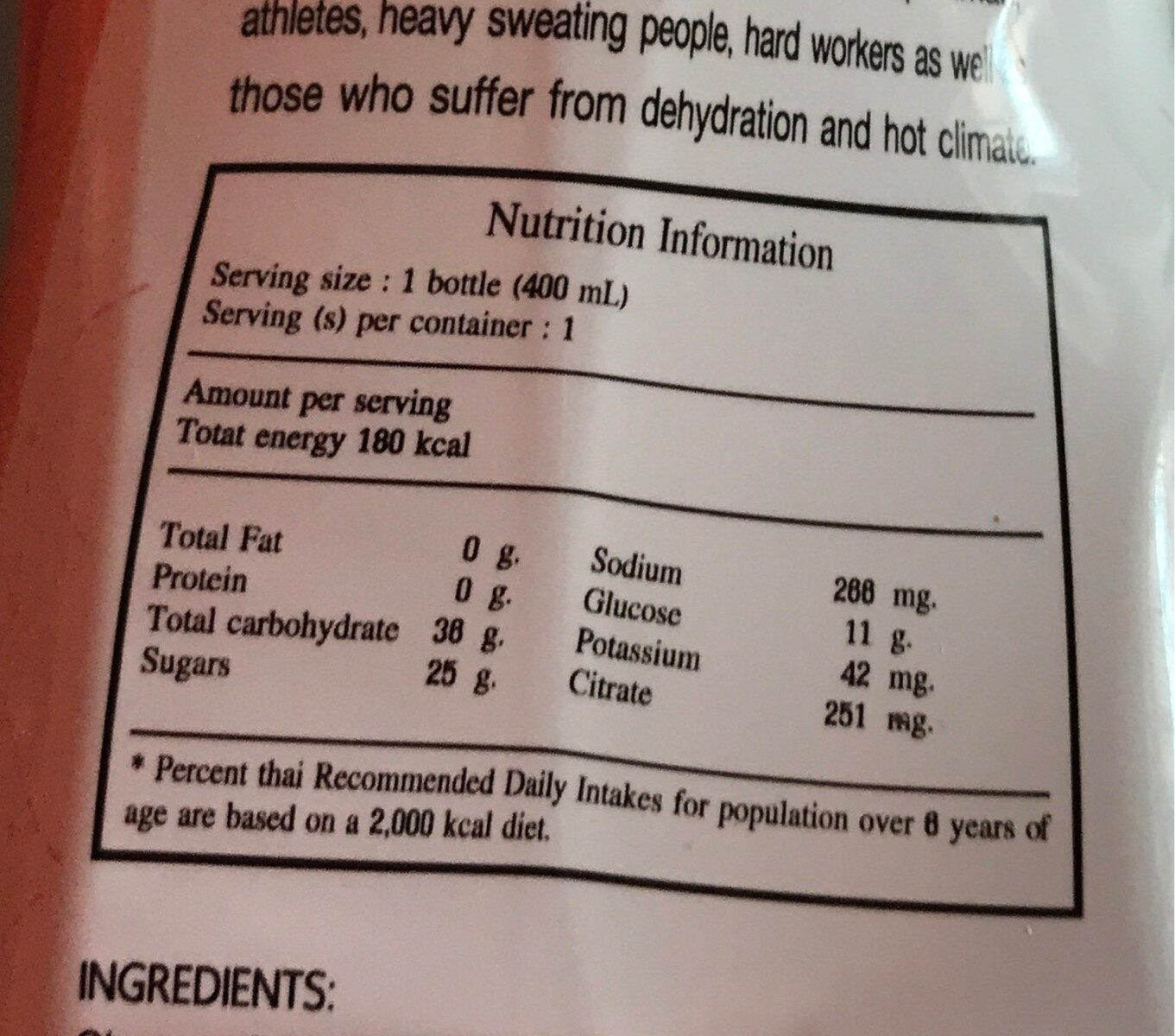 Electrolyte beverage - Nutrition facts - fr