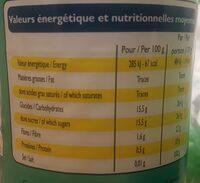 Ananas en tranches au sirop léger - Informations nutritionnelles