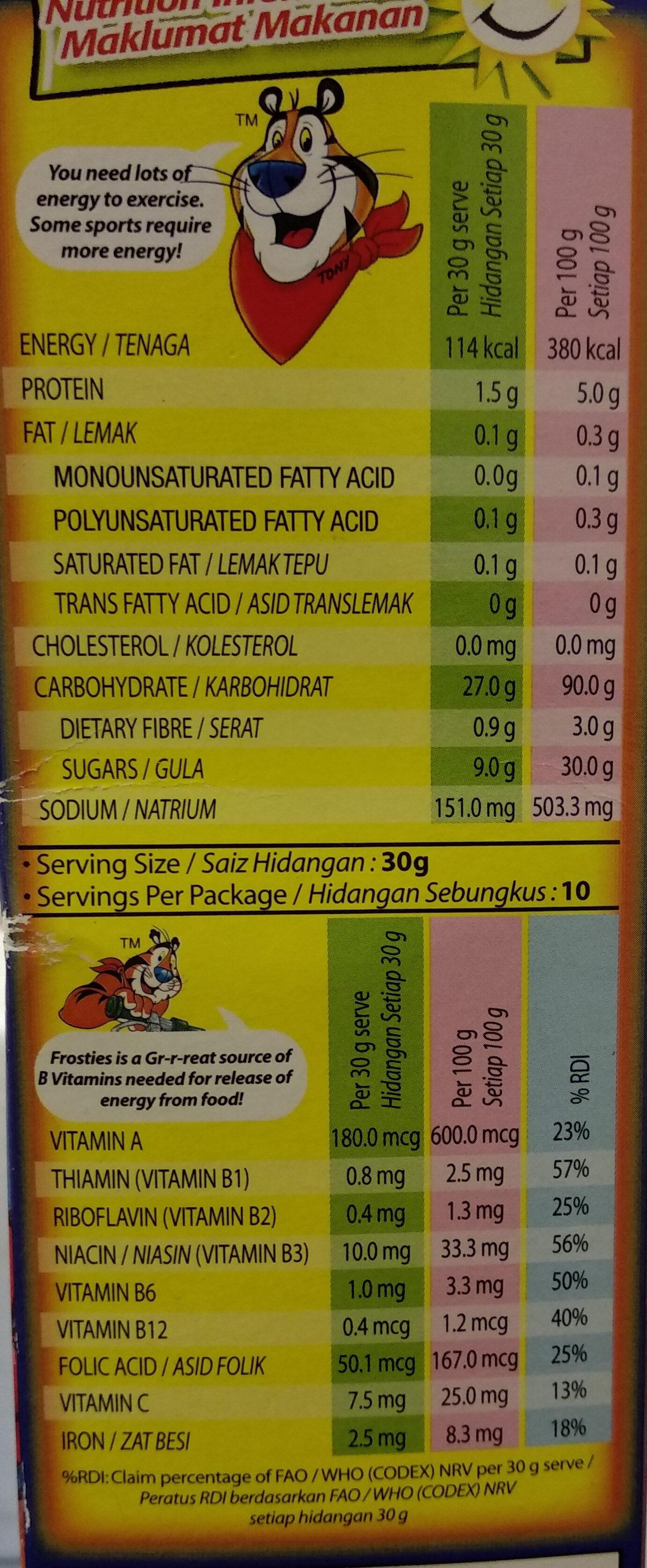 Kellogg's Frosties Breakfast Cereal - Nutrition facts - en