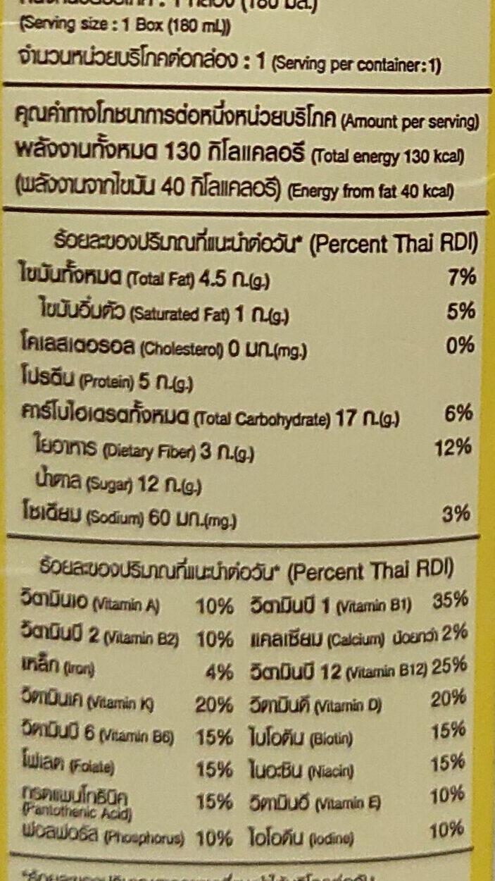 นมถั่วเหลืองผสมข้าวโพด - Informations nutritionnelles - th