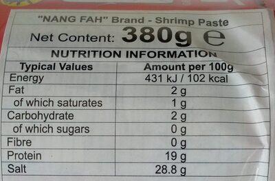 กะปิแท้ - Nutrition facts