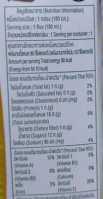 Malee sweet corn milk - Valori nutrizionali - en