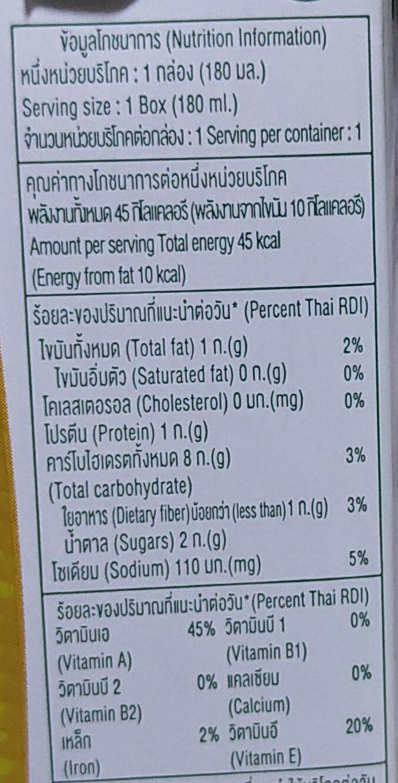 Malee sweet corn milk drink - Voedingswaarden - en