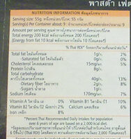 พาสต้าเฟตตูชินี่ ผักโขม - Informations nutritionnelles - th