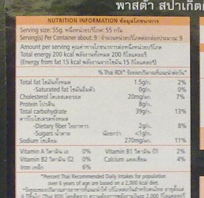 พาสต้า สปาเก็ตตี้ ดีปลาหมึก - Informations nutritionnelles - th