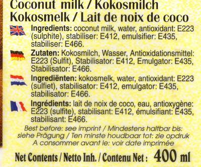 Kokosnussmilch - Ingrédients - de