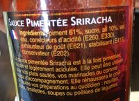Exotic Food Scharfe Chili-sauce Spiracha - Ingrédients - fr