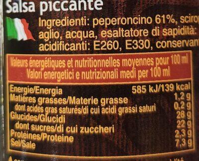 Sauce pimentée sriracha - Nutrition facts - fr