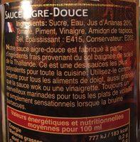 Exotic Food Süß saure Sauce - Ingredients - fr