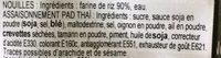 Nouilles Pad Thaï - Ingrédients - fr