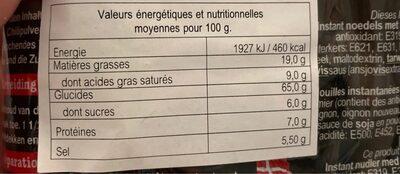 Tom yum noodle soup - Nutrition facts