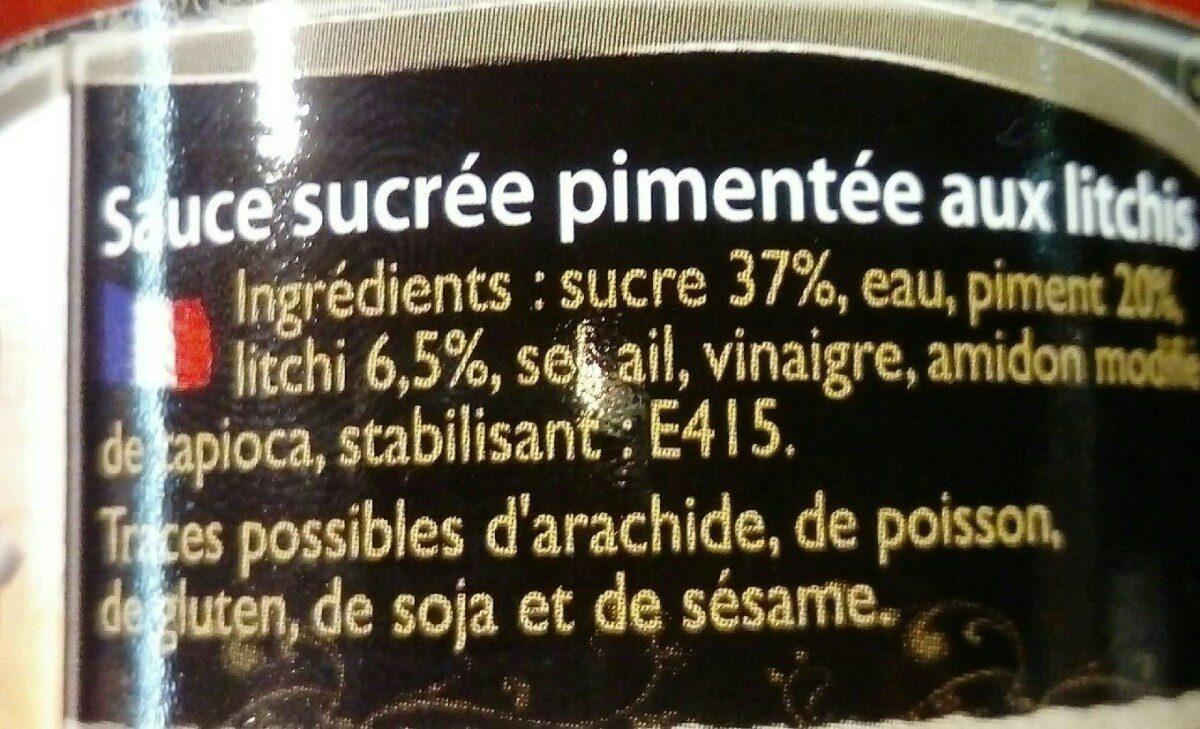 Sauce sucrée pimentée aux litchis - Ingrédients - fr