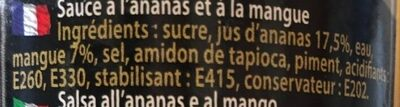 Sauce Mangue Ananas - Ingredients - fr