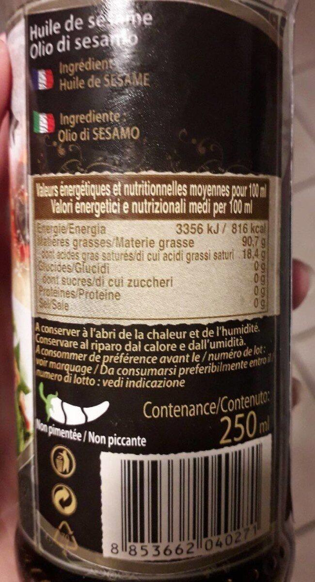 Huile De Sésame 250ml - Informations nutritionnelles - fr