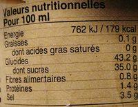 Sauce Pimentée à l'Ananas pour Wok - Informations nutritionnelles - fr