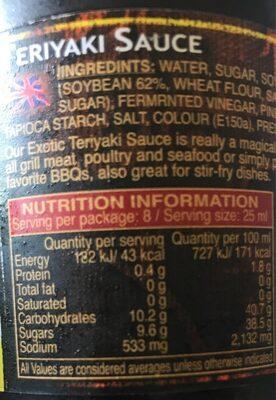 Exotic, Teriyaki Sauce - Informations nutritionnelles - fr