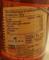 Purée de piment - Informations nutritionnelles - fr