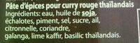 Red curry paste (pâte de curry rouge) - Ingrédients - fr