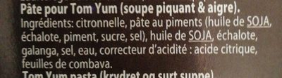Tom yum sauce - Ingrédients - fr