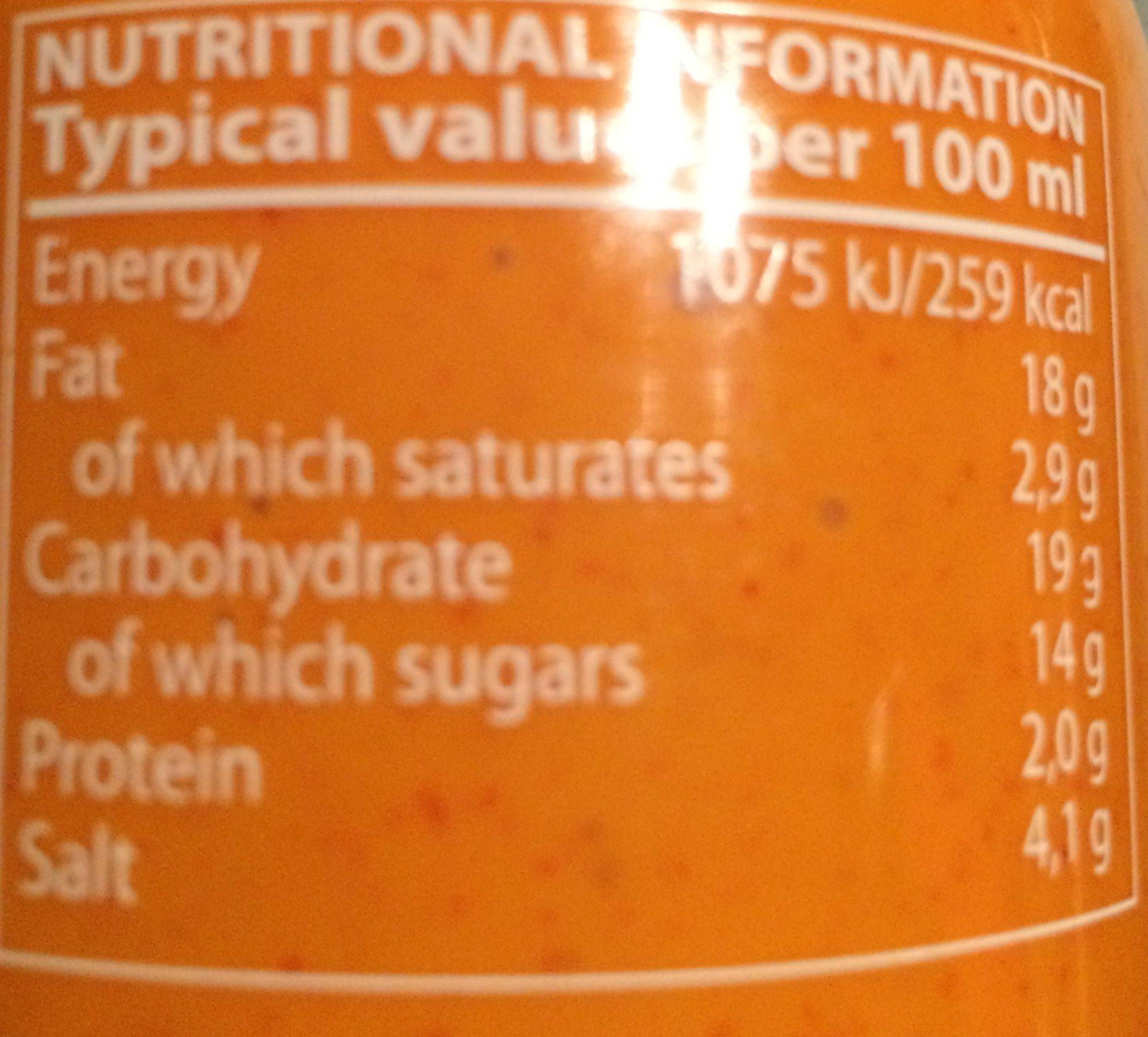 Sauce Piment Mayo Sriracha - Ingredients