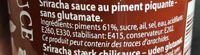 Sriracha Scharfe Chillisauce - Ingredientes - fr