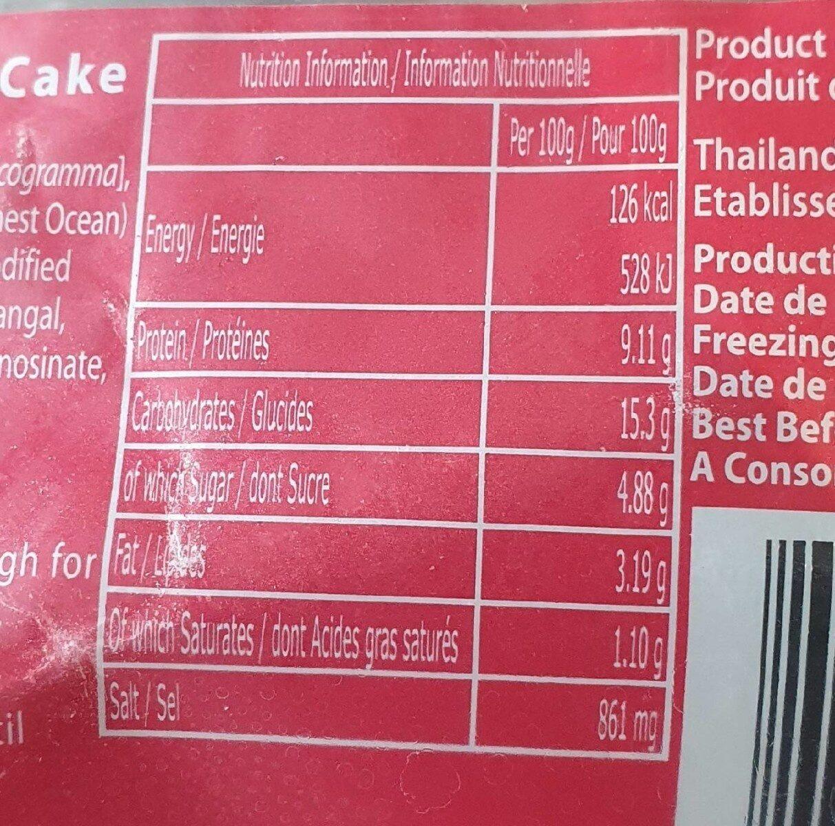 Beignet de poisson thaïlandais - Valori nutrizionali - fr