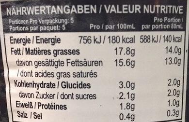 Thai Premium Ingredient Coconut Cream - Valori nutrizionali - de