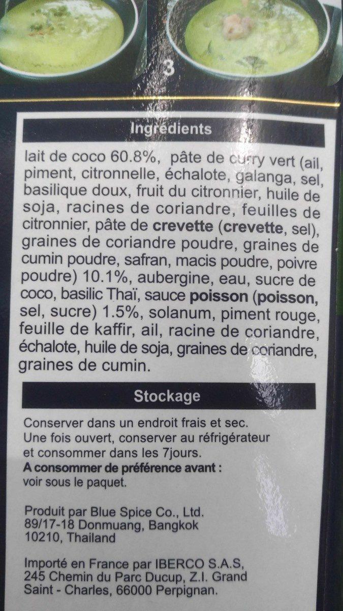 Blue Elephant Sauce De Curry Vert 300G - Ingrédients