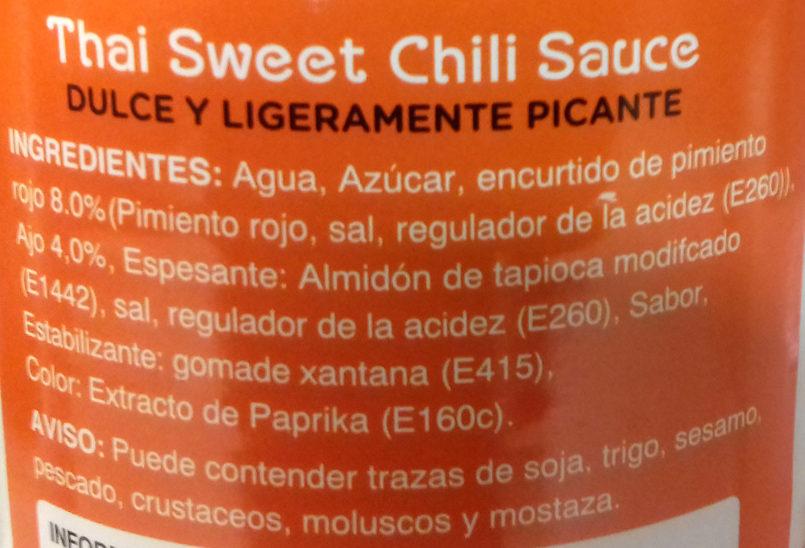 Thai Sweet Chili Sauce - Ingredients - es