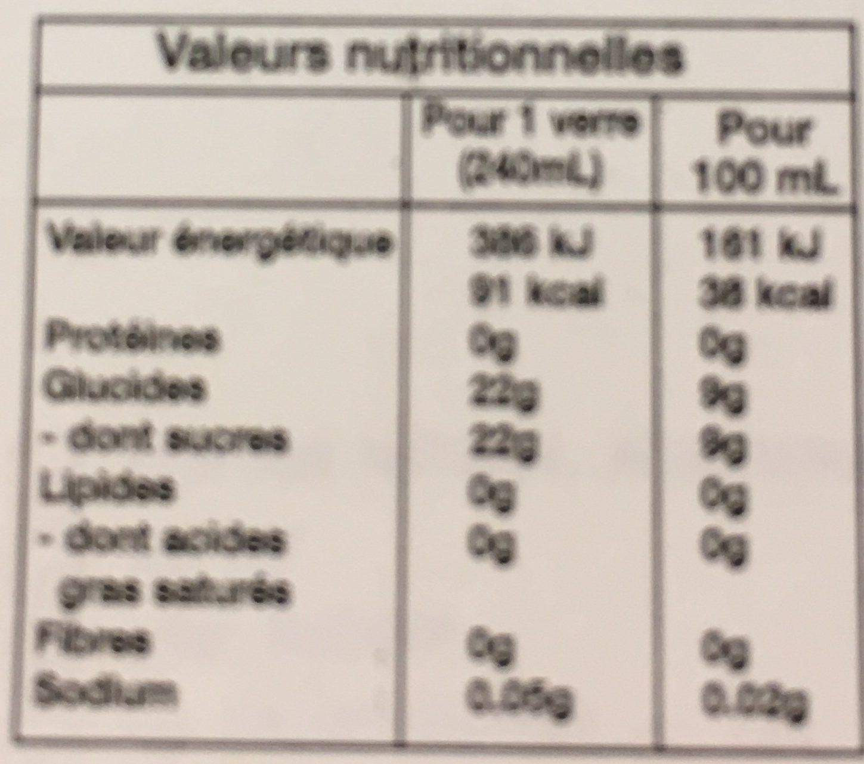 Vera Drink Mango FLVR 500ML - Nutrition facts