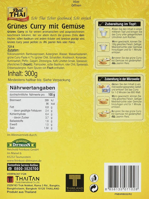 Grünes Curry mit Gemüse - Ingredients
